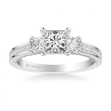 ArtCarved Platinum Marlow Contemporary Three Stone Rope Diamond Engagement Ring
