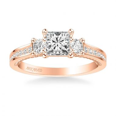 ArtCarved Marlow Contemporary Three Stone Rope Diamond Engagement Ring in 14k Rose Gold