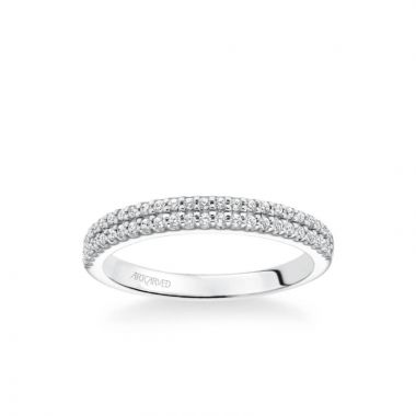 ArtCarved Avril Classic Double Row Diamond Wedding Band in 18k White Gold