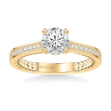 ArtCarved Keira Contemporary Side Stone Rope Diamond Engagement Ring in 14k Yellow Gold