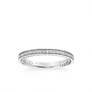 ArtCarved Keira Contemporary Diamond and Rope Wedding Band in 18k White Gold