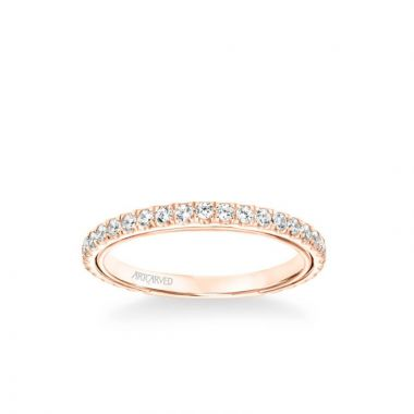ArtCarved Carmen Contemporary Diamond Wedding Band in 18k Rose Gold