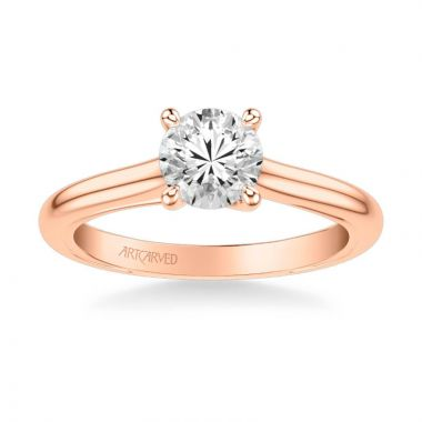 ArtCarved Tayla Contemporary Solitaire Twist Diamond Engagement Ring in 14k Rose Gold