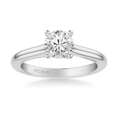 ArtCarved Tayla Contemporary Solitaire Twist Diamond Engagement Ring in 14k White Gold