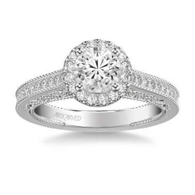 ArtCarved Indra Vintage Round Halo Diamond Heritage Collection Engagement Ring in 18k White Gold