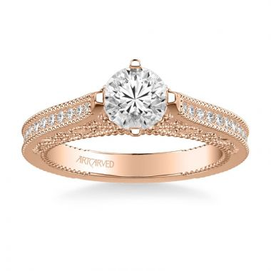 ArtCarved Juliana Vintage Side Stone Heritage Collection Diamond Engagement Ring in 14k Rose Gold