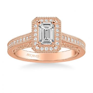 ArtCarved Velma Vintage Emerald Halo Heritage Collection Diamond Engagement Ring in 14k Rose Gold