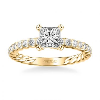 ArtCarved Wren Contemporary Side Stone Rope Diamond Engagement Ring in 18k Yellow Gold