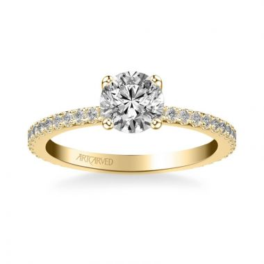 ArtCarved Aubrey Classic Side Stone Diamond Engagement Ring in 18k Yellow Gold