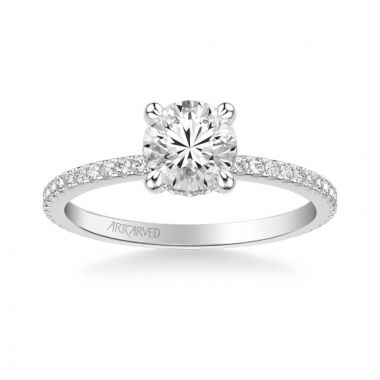 ArtCarved Platinum Chelsea Classic Side Stone Diamond Engagement Ring
