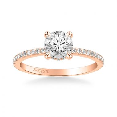 ArtCarved Chelsea Classic Side Stone Diamond Engagement Ring in 14k Rose Gold