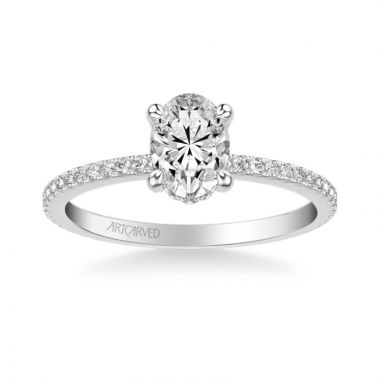 ArtCarved Chelsea Classic Side Stone Diamond Engagement Ring in 18k White Gold