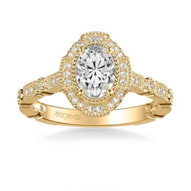 ArtCarved Bessie Vintage Oval Halo Diamond Engagement Ring in 18k Yellow Gold