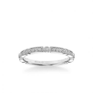 ArtCarved Platinum Bessie Vintage Diamond and Milgrain Multi-Shape Wedding Band