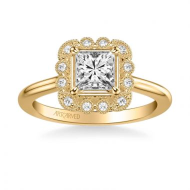 ArtCarved Mabel Vintage Multi-Shaped Halo Diamond Engagement Ring in 14k Yellow Gold