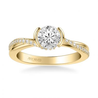 ArtCarved Zola Contemporary Side Stone Bezel Diamond Engagement Ring in 18k Yellow Gold