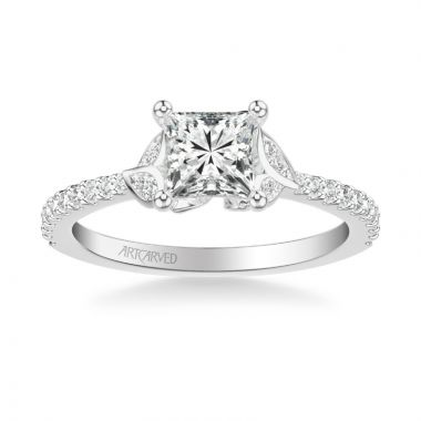 ArtCarved Platinum Bluebelle Contemporary Side Stone Floral Diamond Engagement Ring