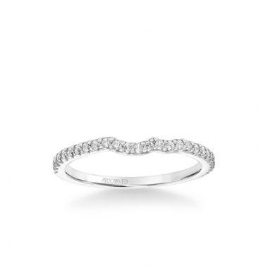 ArtCarved Bluebelle Contemporary Diamond Wedding Band in 14k White Gold