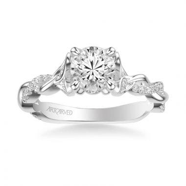 ArtCarved Platinum Amaryllis Contemporary Side Stone Floral Diamond Engagement Ring
