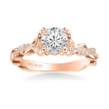 ArtCarved Amaryllis Contemporary Side Stone Floral Diamond Engagement Ring in 18k Rose Gold