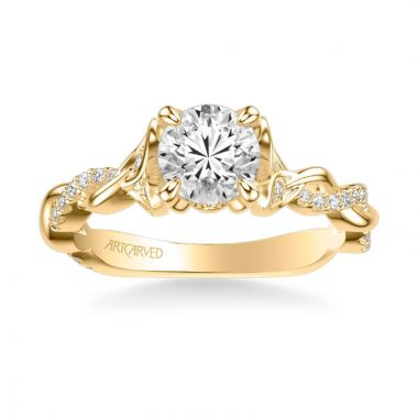 ArtCarved Amaryllis Contemporary Side Stone Floral Diamond Engagement Ring in 18k Yellow Gold