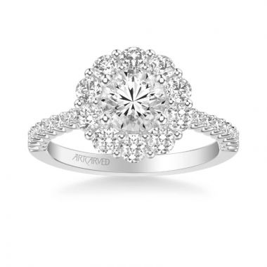 ArtCarved Penny Classic Round Halo Diamond Engagement Ring in 18k White Gold