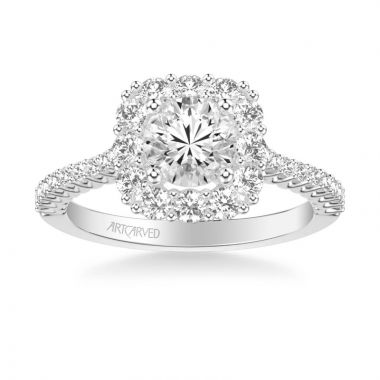 ArtCarved Dolly Classic Cushion Halo Diamond Engagement Ring in 14k White Gold