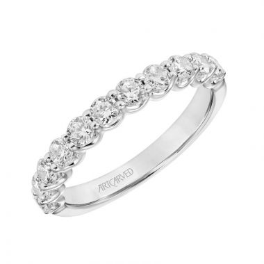 Art Carved 14k White Gold Tina Stackable Wedding Band
