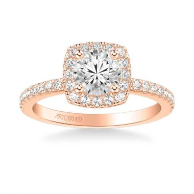 ArtCarved Molly Classic Cushion Halo Diamond Engagement Ring in 14k Rose Gold
