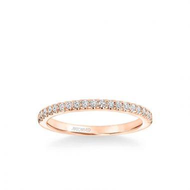 ArtCarved Tori Classic Diamond Wedding Band in 18k Rose Gold