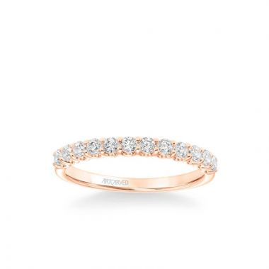 ArtCarved Faye Classic Diamond Wedding Band in 18k Rose Gold