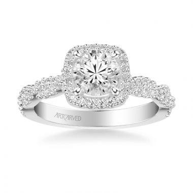 ArtCarved Platinum Eileen Contemporary Cushion Halo Round Center Twist Diamond Engagement Ring