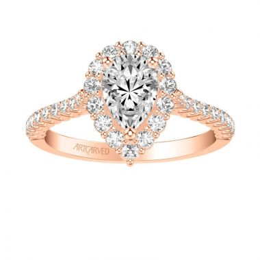 ArtCarved Melissa Classic Pear Halo Diamond Engagement Ring in 14k Rose Gold
