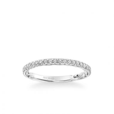 ArtCarved Cora Lyric Collection Classic Diamond Wedding Band in 14k White Gold