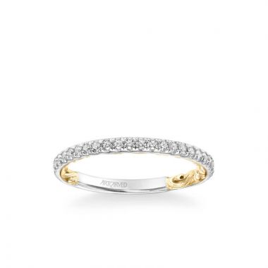 ArtCarved Cora Lyric Collection Classic Diamond Wedding Band in 18k White and Yellow Gold