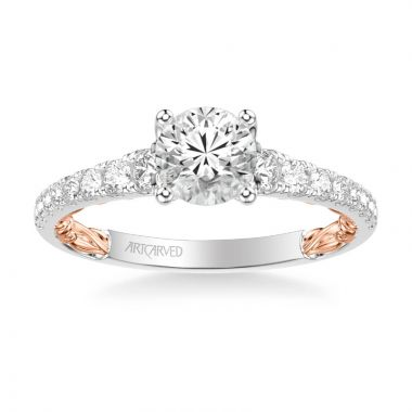 ArtCarved Harley Lyric Collection Classic Side Stone Diamond Engagement Ring in 14k White and Rose Gold
