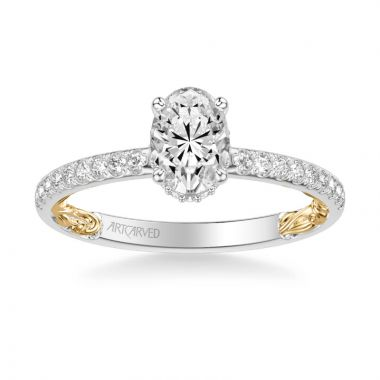 ArtCarved Brianne Lyric Collection Classic Side Stone Diamond Engagement Ring in 14k White and Yellow Gold