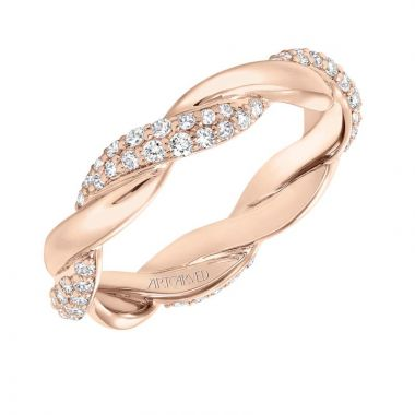 Art Carved 14k Rose Gold Stackable Wedding Band
