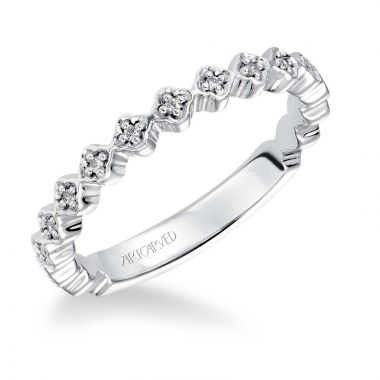Art Carved 14k White Gold Shannon Stackable Wedding Band
