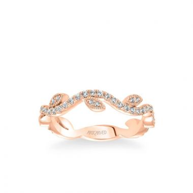 ArtCarved Stackable Band with Diamond Leaf and Vine Accents in 18k Rose Gold