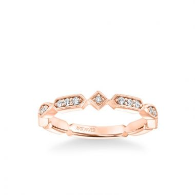 ArtCarved Stackable Band with Diamond and Milgrain Alternating Multi-Shape Design in 14k Rose Gold