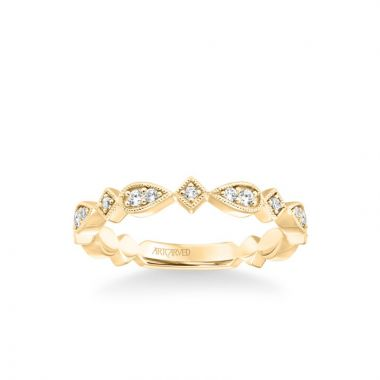 ArtCarved Stackable Band with Diamond and Milgrain Accented Multi-Shape Design in 14k Yellow Gold