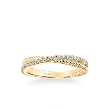 """ArtCarved Stackable Band with Diamond and Rope """"X"""" Design in 14k Yellow Gold"""