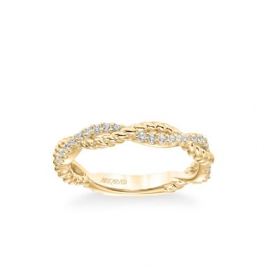 ArtCarved Stackable Band with Half Diamond Half Rope Twist in 14k Yellow Gold