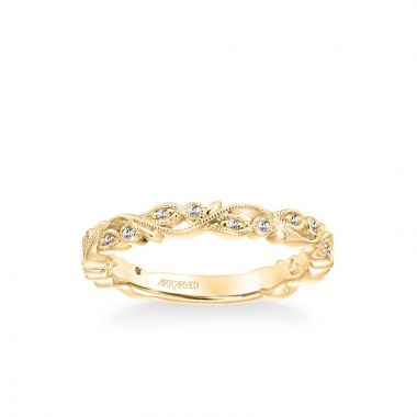 ArtCarved Stackable Band with Diamond and Milgrain Floral Design in 18k Yellow Gold