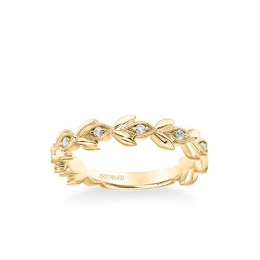 ArtCarved Stackable Band with Polished Petals and Diamond and Milgrain Leaf Accents in 14k Yellow Gold