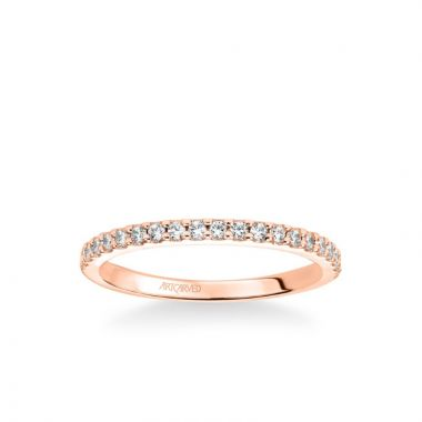ArtCarved Stackable Band with Shared Prong Set Diamonds in 18k Rose Gold