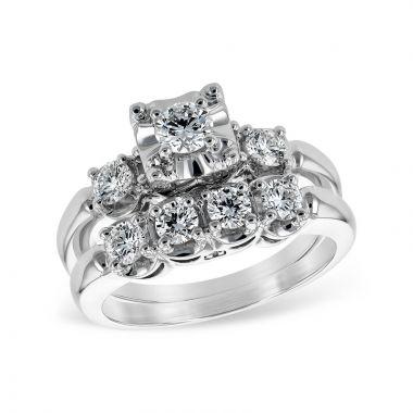 Allison Kaufman 14k White Gold Straight Bridal Set