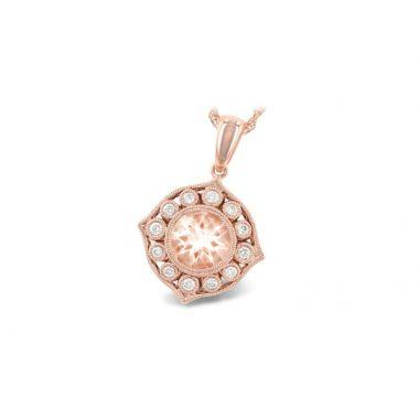 Allison Kaufman 14k Rose Gold Gemstone & Diamond Necklace
