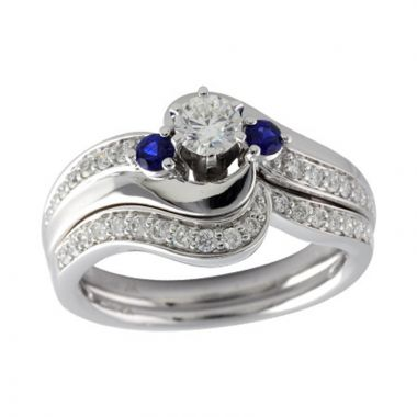Allison Kaufman 14k White Gold Diamond and Gemstone 3 Stone Bridal Set